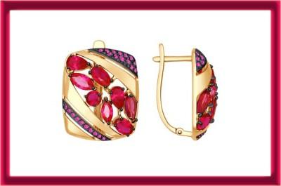 Ювелирное изделие. Серьги из золота с корундами рубиновыми (синт.) и красными фианитами. Купон на скидку.