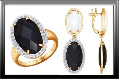 Ювелирное изделие. Кольцо из золота с бриллиантами и чёрной керамической вставкой. Купон на скидку.